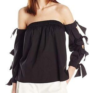 Milly blythe black tie sleeve off shoulder top